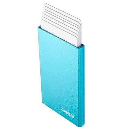 Tarjetero para Tarjeta de Crédito RFID Bloqueo para Hombre y Mujer, Cartera Delgada de Metalico Automatico para 6 Tarjetas - Azul