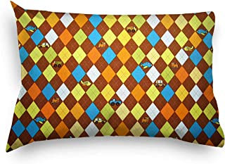 product image for SheetWorld Percale Twin Pillow Case - Argyle Brown Transport - Made In USA