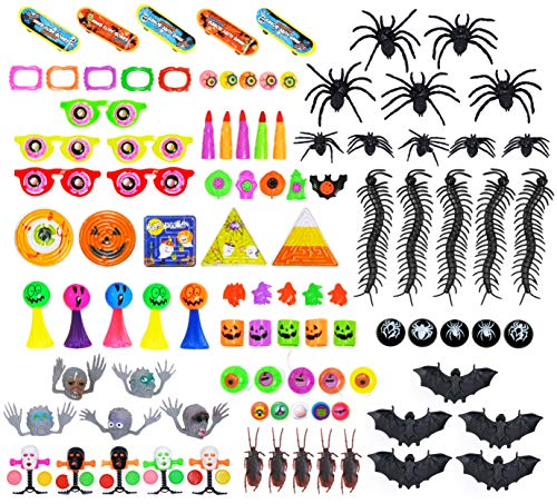 Halloween Party Favors Toys for Kids 100 Pcs - Goody Bag Stuffers, Trick-or-Treat, Classroom Rewards, Halloween Prizes For -