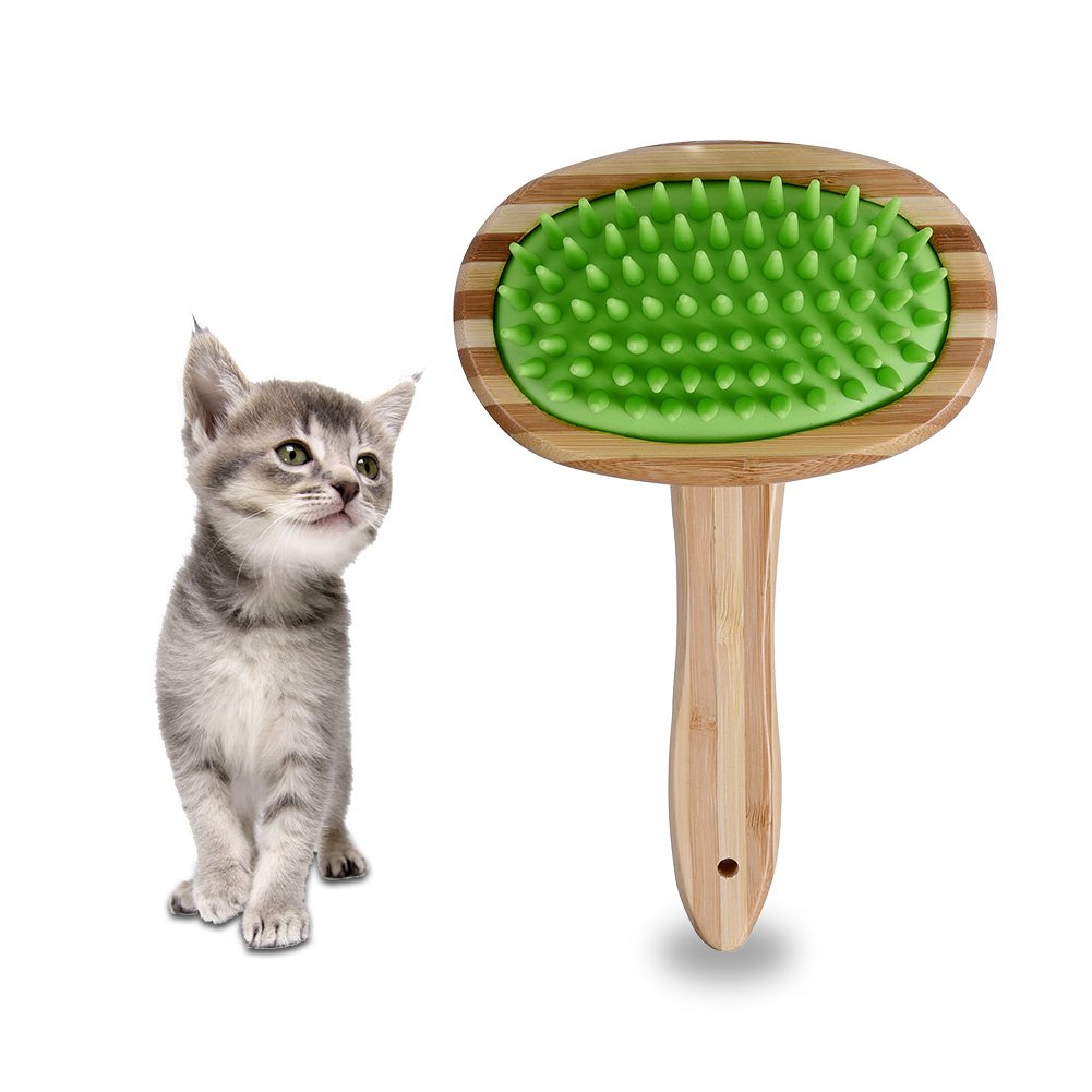Petacc Pet Grooming Bamboo Brush Cats Massage Brush Dog Grooming Supplies Gentle Massage Brush for Dogs and Cats