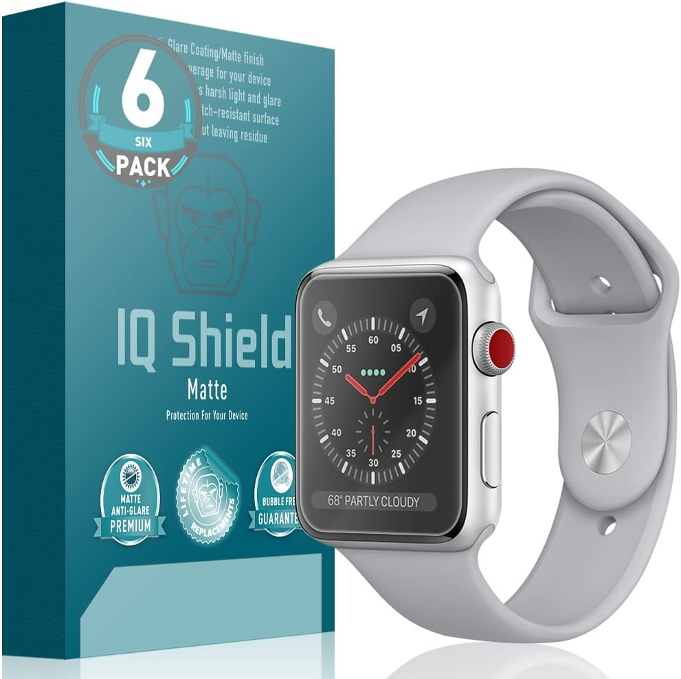 IQ Shield Matte Screen Protector Compatible with Apple Watch (38mm)(Nike+, Series 3, 2, 1 Compatible)(Full Coverage)(6-Pack)(Ultimate) Anti-Glare Anti-Bubble Film