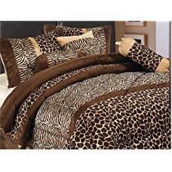7 Piece Brown (Double) FULL Size Safari Bed In A Bag Animal Print Zebra, Giraffe Comforter Set Microfur Bedding. Perfect For any Bed Room or Guest Room