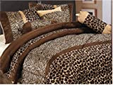 7 Piece Safari Zebra / Giraffe Animal Print Brown Micro Fur Comforter Set, Queen Size Bedding