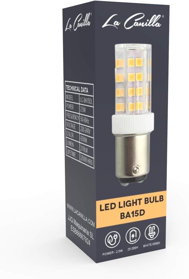 La Canilla ® - Bombilla LED Máquina de Coser Alfa, Singer, Sigma y más modelos Lámpara LED Ba15D Luz Fría 6500K - 210LM