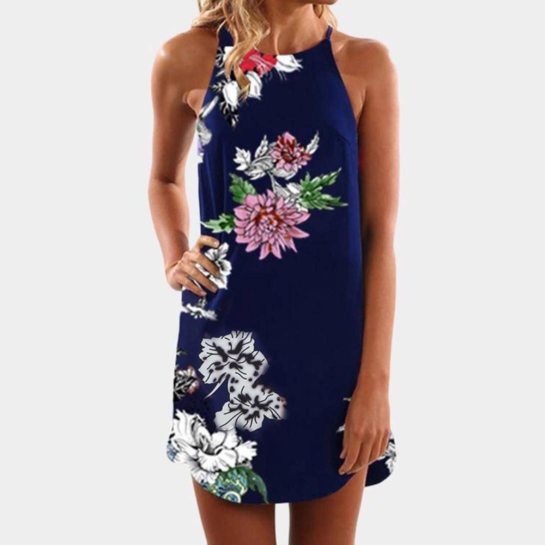 Yesmile 💋💝Vestido de Mujer Vestido Largo Partido Vestido Elegante de Noche para Boda Mini Vestido Sin Tirantes de las Mujeres Florales Striaght para Mujer ...