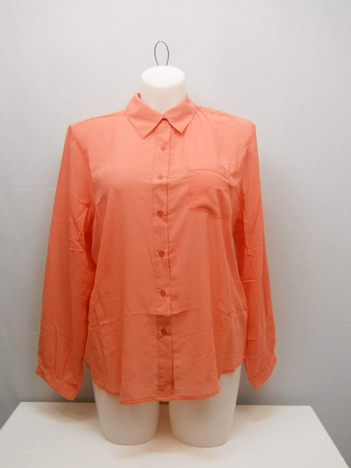 953ef8c8 Roman Fashion Women's Plus Size Sheer Button-Down Shirt Solid Coral Collar-Neck  Long-Sleeve at Amazon Women's Clothing store: