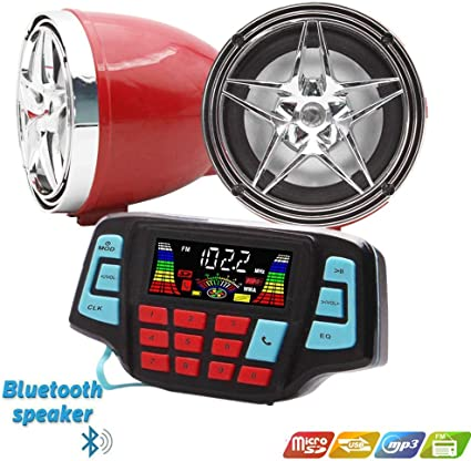 Chrome/&Red Star Speaker /… UTV ATV Bluetooth Amplifier Sound System Hand-Free Speakers FM USB Audio System Stereo 3 Inch Speakers 12V Motorcycle Waterproof Audio for iPhone//iPod//MP3
