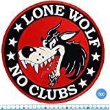 Cool Look, Unique, LLone Wolf No Club Biker Iron Large Patch Badge 9 Inch, Look Cool Embroidered Iron on Sew for Biker Trucker Rocker Chopper Jacket