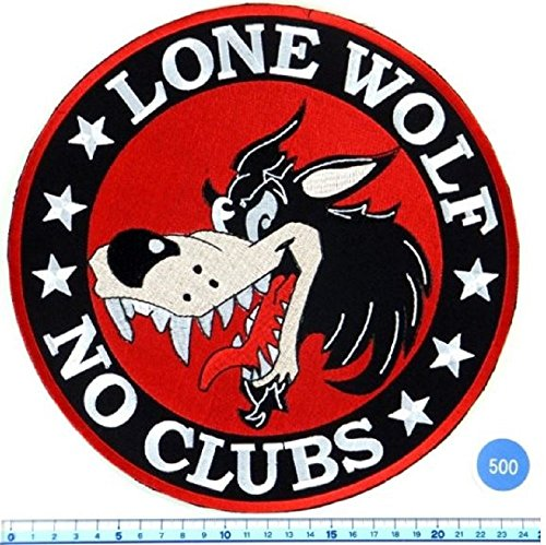 Cool Look, Unique, LLone Wolf No Club Biker Iron Large Patch Badge 9 Inch, Look Cool Embroidered Iron on Sew for Biker Trucker Rocker Chopper Jacket by Crazy Patchy