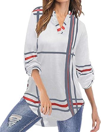 YOINS Blusa Mujer Manga Larga Camiseta Cuello V Camisa Elegante Túnica Casual SueltoTops Otoño Invierno: Amazon.es: Ropa y accesorios