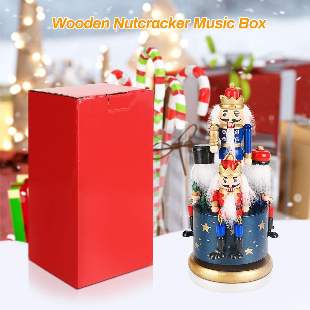 Achort Handmade Wooden Nutcracker Christmas Decorations Soldier Figure Wind Up Clockwork Christmas Music Box Nutcracker Music Box for Gift Home Decor Ornaments Blue