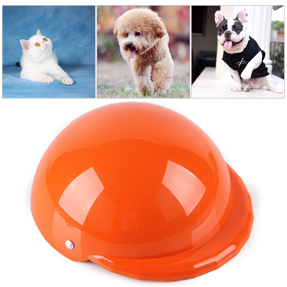 Petacc Plastic Pet Hard Hat Decorative Dog Helmets Hat Creative Cat Helmets Cap Portable Pet Safety Helmets, Orange, S
