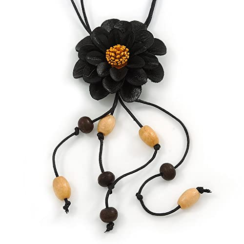 Avalaya Black Leather Daisy Pendant with Long Cotton Cord - 80cm L - Adjustable r6gaw