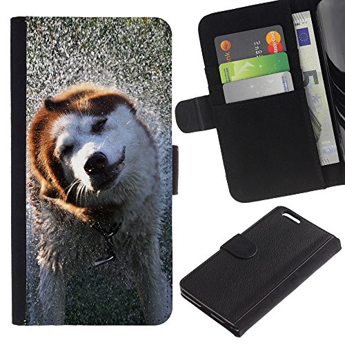 EuroCase - Apple Iphone 6 PLUS 5.5 - Cool Wet Dog - Cuir PU Coverture Shell Armure Coque Coq Cas Etui Housse Case Cover