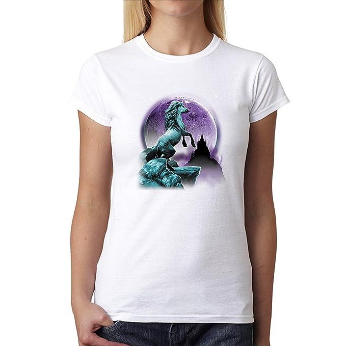 Unicornio Luna Púrpura Mujer Camiseta Blanco XS