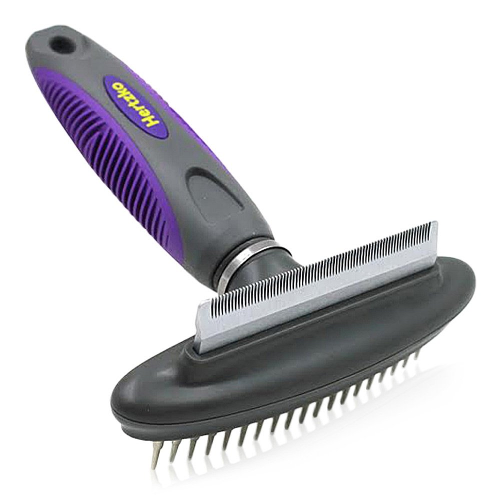 Hertzko Dog & Cat Comb and Deshedding Tool By 2 in 1 Great Grooming Tool - Removes Loose Undercoat, Mats and Tangled Hair from your Pet's Fur