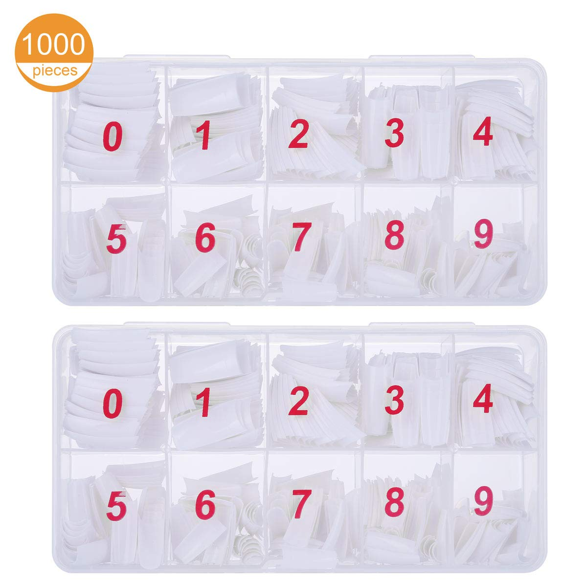 1000 Pcs White Natural False Nails 10 Sizes Oval Fake Nail French Acrylic Style Artificial Fake Art Nails Tips with Box for Women Girls Tbestmax