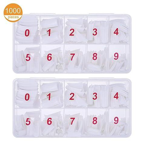 1000 uñas postizas de color blanco natural, 10 tamaños, ovaladas, de estilo acrílico