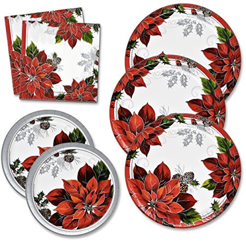Christmas Plates and Napkins Set Serves 50 Includes 50 Paper Dinner Plates 50 Dessert Plates and 100 Luncheon Napkins for Christmas Party Holiday Disposable Dinnerware Tableware Pack Made in -