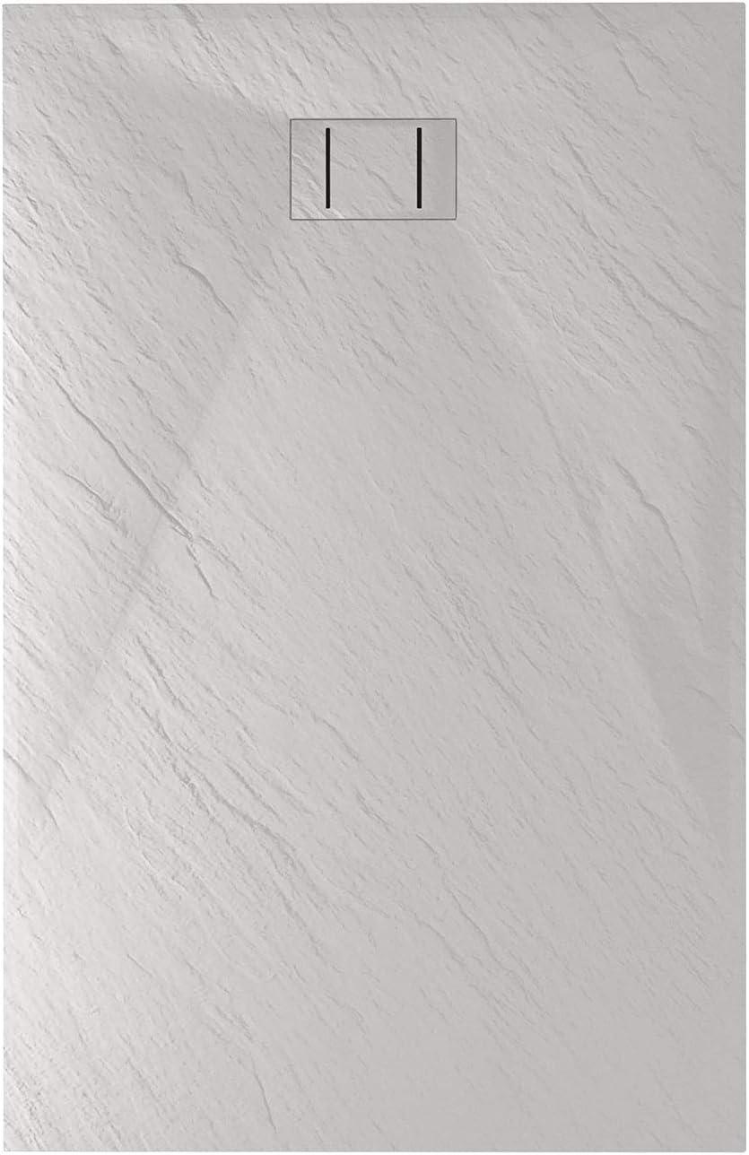 Blend Idralite Bac /à Douche 80x140x2,6 CM Rectangulaire Tortourelle Effet Pierre Mod