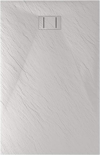 Crocket Piatto doccia Resina Ardesia Antiscivolo Tutte le misure disponibili Sifone e Griglia Inox inclusi Modello Stone Griglio RAL 7040-90 x 100 Effetto Pietra e ultraslim
