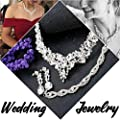 Fiasaso Crystal Bridal Jewelry Set for Women Rhinestone Necklace Earrings Bracelet Wedding Bridesmaid
