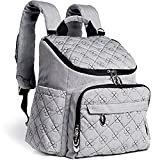 quilted backpack diaper bag - Eloni Baby Large Diaper Bag Backpack | Stylish and Multifunction Design with Insulated Pockets, Changing Pad, and Stroller Straps | Neutral Grey for Women and Men