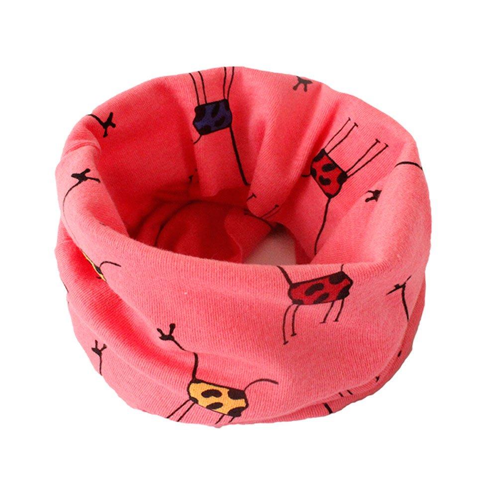 TREESTAR bambini sciarpa cappello sciarpa multiuso in cotone, motivo giraffa antivento non Cold 1PCS, Cotone, Red, 40*20cm