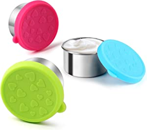 FANGSUN Dressing Containers to Go for Condiments, Salad Dressing, Dips, Snacks, Stainless Steel Dipping Sauce Cups, Fits in Bento Box for Lunch, Mini Food Storage Containers with Lid (Multicolor)