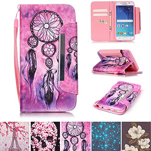 Samsung Phone Lock - Galaxy S6 Case, Kickstand Flip [Card Slots] Wallet Cover Double Layer Bumper Shell with Magnetic Closure Strap Protective Case for Samsung Galaxy S6- Net