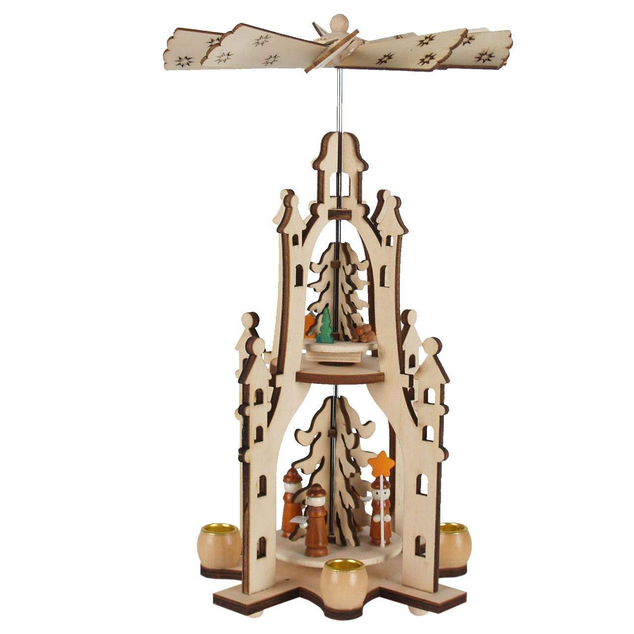 OBC OBC OBC Weihnachtspyramide Engel  , LED Beleuchtung und Kerzen Pyramide Weihnachten   2 Etagen im Erzgebirge Stil, handgefertigt Deko zu Weihnachten 8debeb