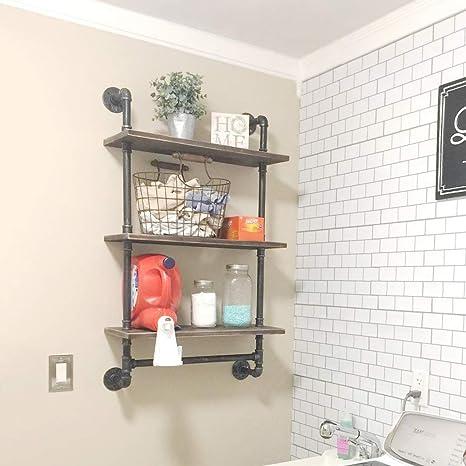 Ucared 3 Tier Vintage Industrial Pipe Bathroom Shelves Wall Mounted24 Rustic Wall Shelf With Bath Towel Barsfarmhouse Towel Rackmetal Wooden