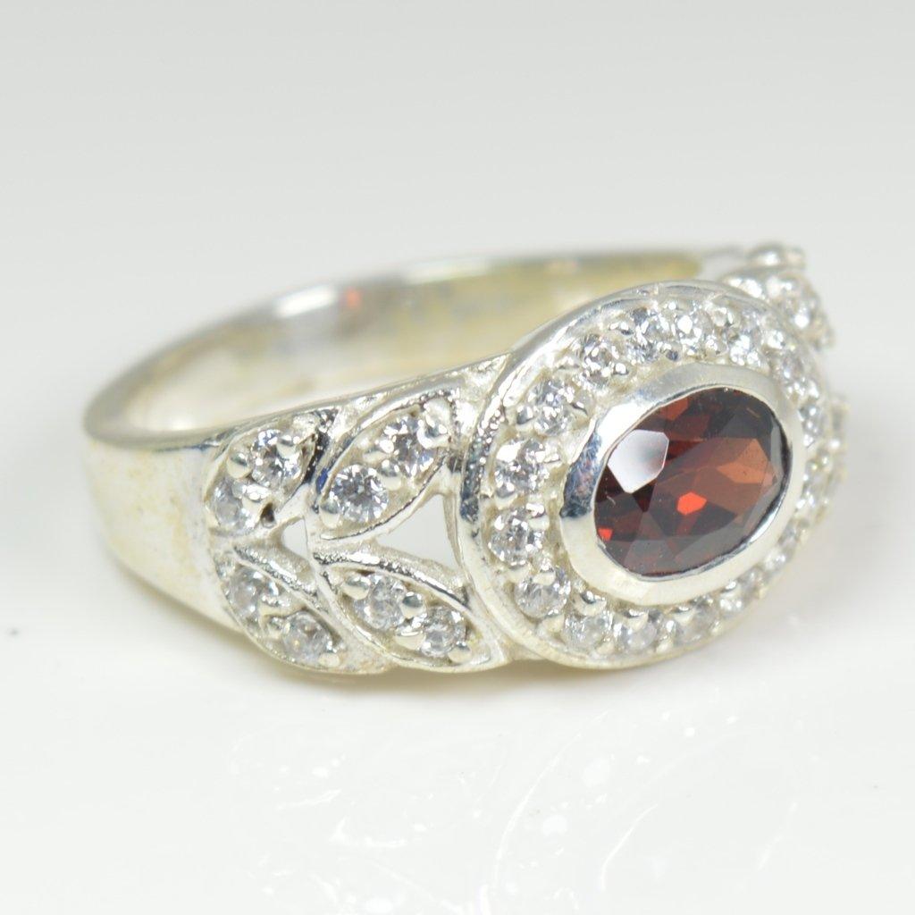 Gemsonclick Genuine Birthstone Garnet Ring Chakra Healing Sterling Silver Oval Cut Handcrafted Size 4-13