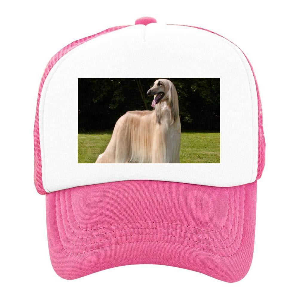EThomasine Kids Girls Boys Mesh Cap Trucker Hats Afghan Hound Adjustable Hat Pink