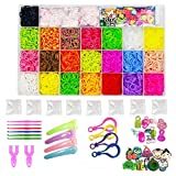 NEFUTRY Rubber Loom Kit-5500 Rubber Loom Bands, 22 Colors, 1 Loom, 2 Y Shape loom, 1 Big Hook, 6 Small Hook, 8 Packs S-Clips, 10 Silicon Charms, 10 Lovely Charms