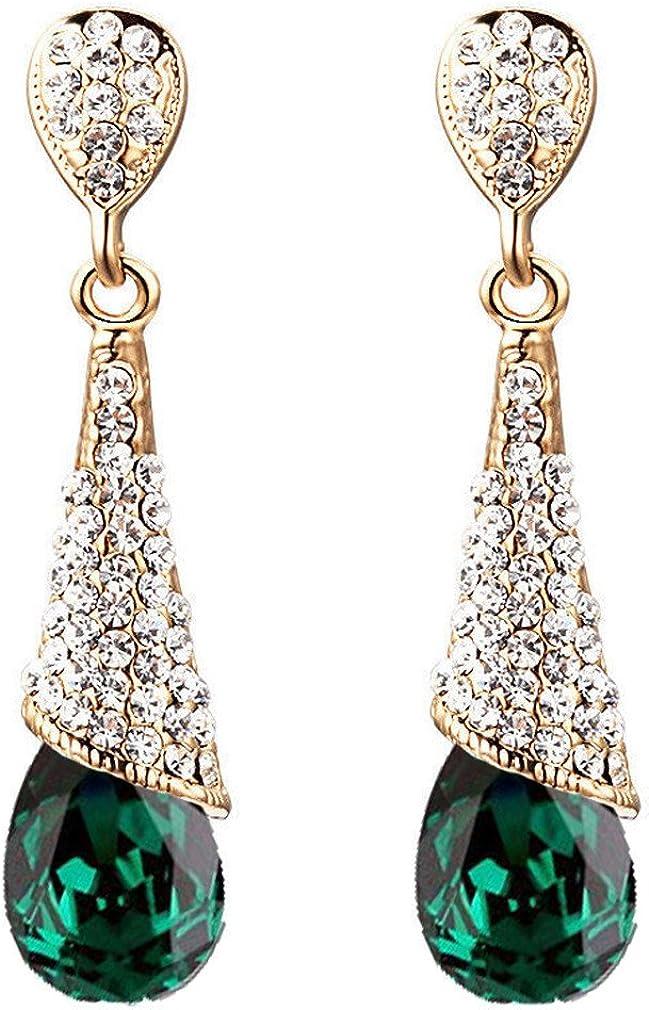YAZILIND oro plateado moda cúbicos zirconia cz lágrima Waterdrop rhinestone colgante gota Dangel pendiente joyas regalo