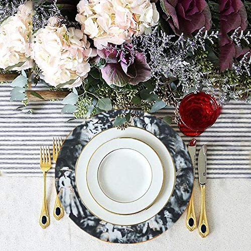 "Efavormart 12pcs Black Commercial Grade 11.5"" Porcelain Chip Resistant Plate Catering Set Dinnerware For Restaurant Home"
