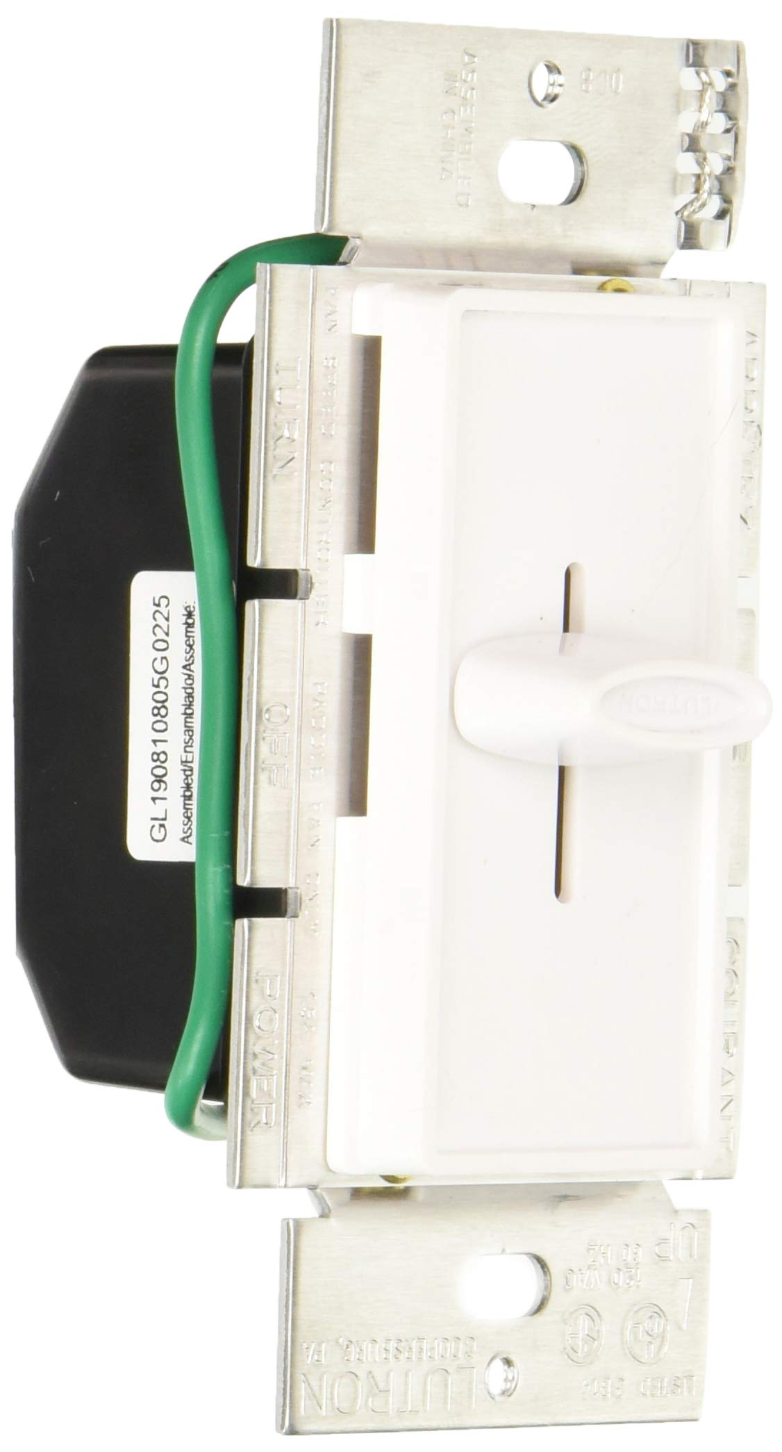Lutron SFSQ-FH-WH Electronics Slide-To-Off Fan Speed Control, White