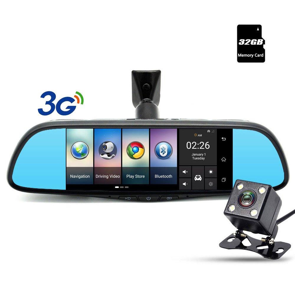 junsun 3G Dash Cam 7'' Touch Universal Special Car DVR Camera Mirror GPS Bluetooth 16GB FHD 1080p Video Recorder (Universal Car DVR Mirror)