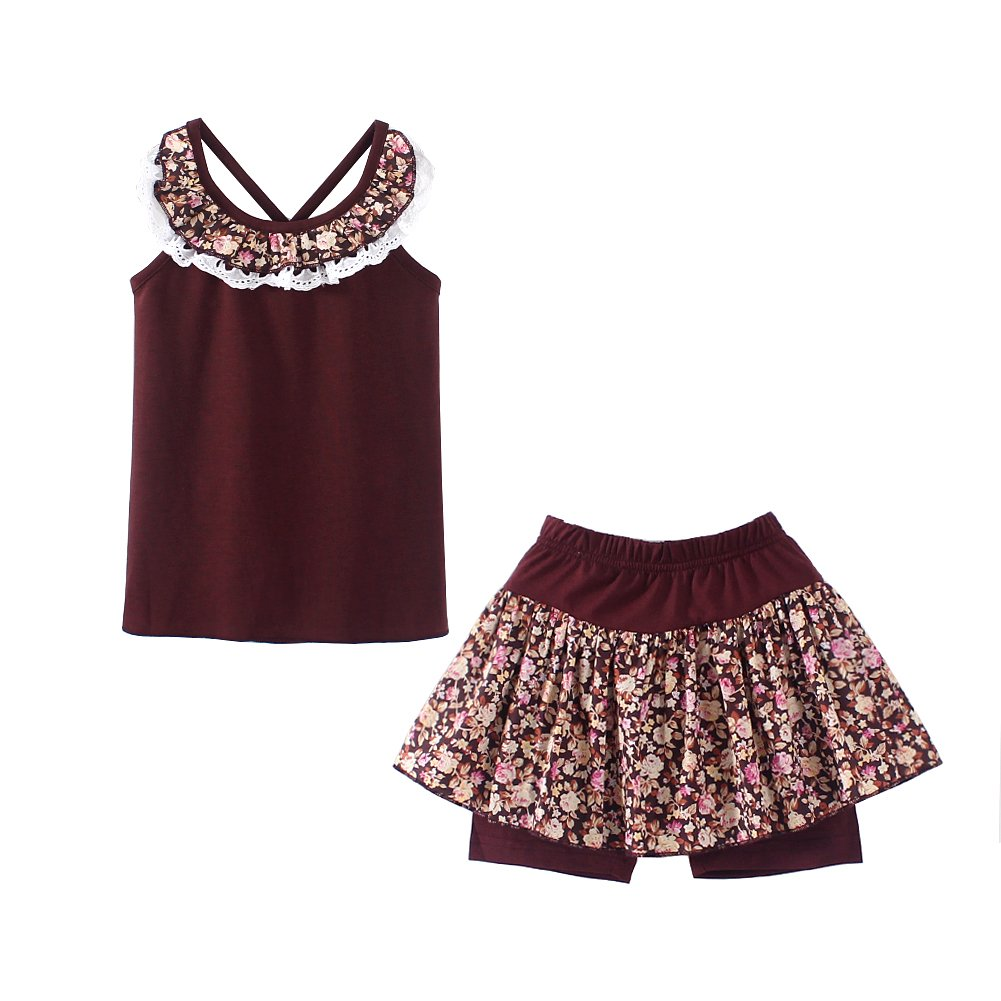 UWESPRING Kids Girls Flower Shorts Sets Lace Collar Tank Tee Tops and Skirts Pants Outfits 7-8T Coffee