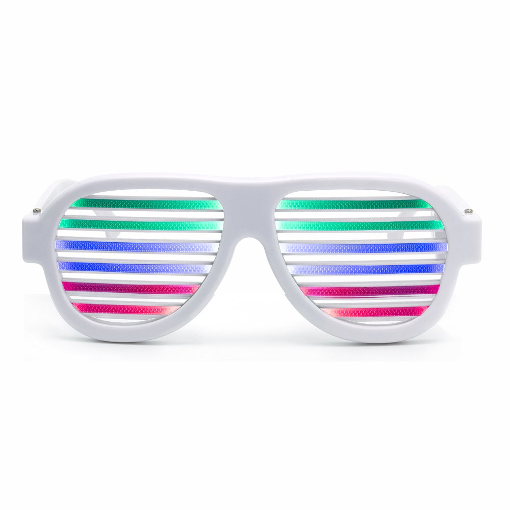Ameyes USB Rechargeable Light up Shutter Shaded Glasses Music & Sound Reactive Flashing Funny Party Glasses Slotted Glasses(White)