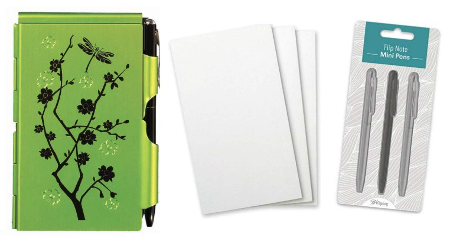 Wellspring Flip Note Notepad Set: Lime Blossoms Flip Note, 3 Flip Note Refill Pads and a 3 Mini Pen Refill