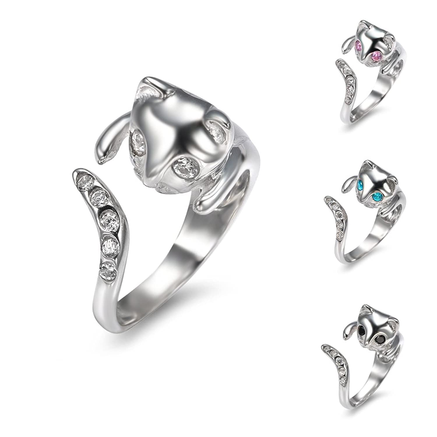Amazon 925 Sterling Silver Wrap White Cubic Zirconia Eyes and