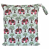 Wet Dry Bag Baby Cloth Diaper Nappy Bag Reusable with Two Zippered Pockets (Red Elephant)
