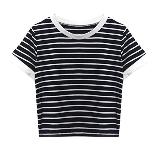 1d0d25ee8a8 Women O-Neck Striped Crop Top Short Sleeve Blouse Casual Shirt Teen Girls  Tunic Jumper