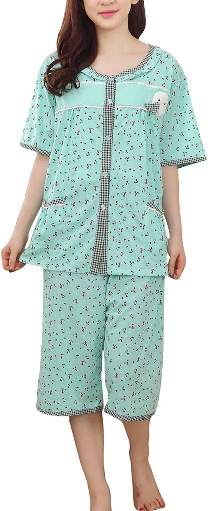 Conjunto de Pijamas de Verano para Mujer Camisa Extragrande Pantalones Capri Lounge: Amazon.es: Ropa y accesorios