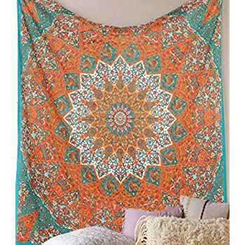 Jaipur Handloom Orange Star Mandala Psychedelic Tapestry Hippie Bohemian Tapestry Wall Hanging Dorm Bedspread Bedding Bed Cover Ethnic Home Decor Dorm Tapestry Bedding Dorm Decor
