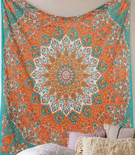Jaipur Handloom Orange Star Mandala Psychedelic Tapestry Hippie Bohemian Tapestry Wall Hanging Dorm Bedspread Bedding Bed Cover Ethnic Home Decor Dorm Tapestry Bedding Dorm Decor (Dorm Decor Bedding)