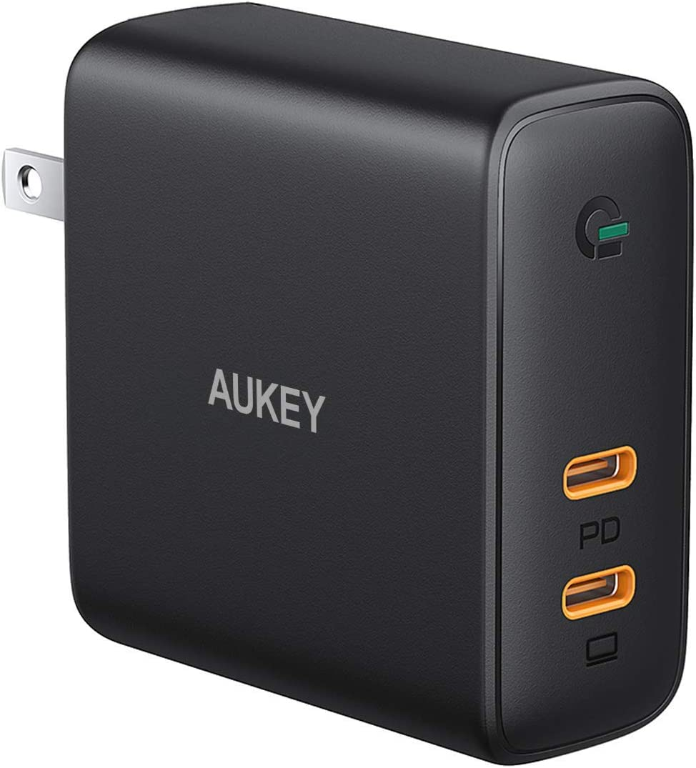 "AUKEY Focus 63W USB C Charger 60W PD Charger Power Delivery 3.0 [ GaN Power ] Fast Charger Dual Port USB C Wall Charger for MacBook Pro Air 13"" 15"" iPhone 11 Pro Max SE, Google Pixel 4 3 XL, Switch"