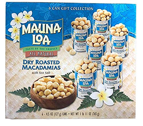 Mauna Loa Macadamias - Mauna loa Dry Roasted Macadamia nut With Sea salt 4.5oz Pack of 6 Gift set